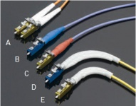<b>LC2+ Connectors:</b> <b>A:</b> Standard, Duplex; <b>B:</b> Sealed, Simplex; <b>C:</b> High temperature, Simplex; <b>D:</b> Standard, Simplex, Single Mode with 90° Boot; <b>E:</b> Standard, Simplex, Multimode with Tight-Bend Radius 90° Boot